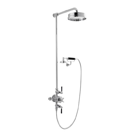 Crosswater - Waldorf Art Deco Black Lever Thermostatic Shower Valve with Fixed Head, Handset & Wall Cradle