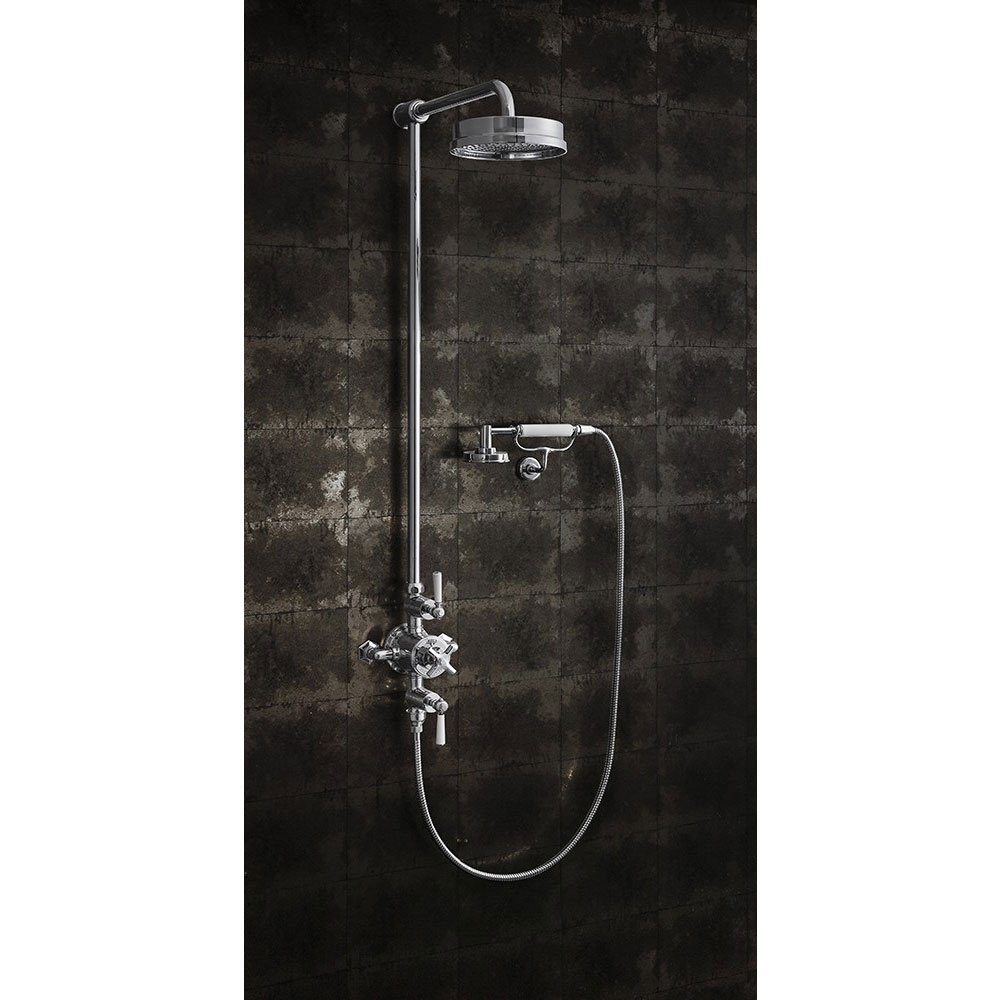 Crosswater - Waldorf Art Deco White Lever Thermostatic Shower Valve with Fixed Head, Handset & Wall Cradle profile large image view 3