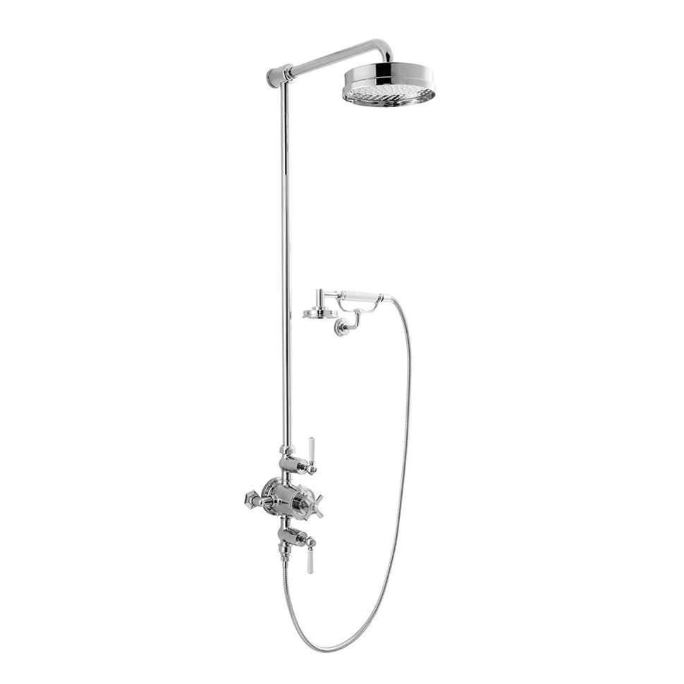 Crosswater - Waldorf Art Deco White Lever Thermostatic Shower Valve with Fixed Head, Handset & Wall Cradle profile large image view 1