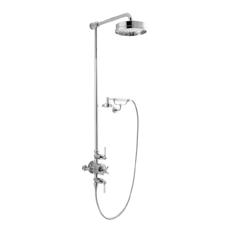 Crosswater - Waldorf Art Deco White Lever Thermostatic Shower Valve with Fixed Head, Handset & Wall Cradle