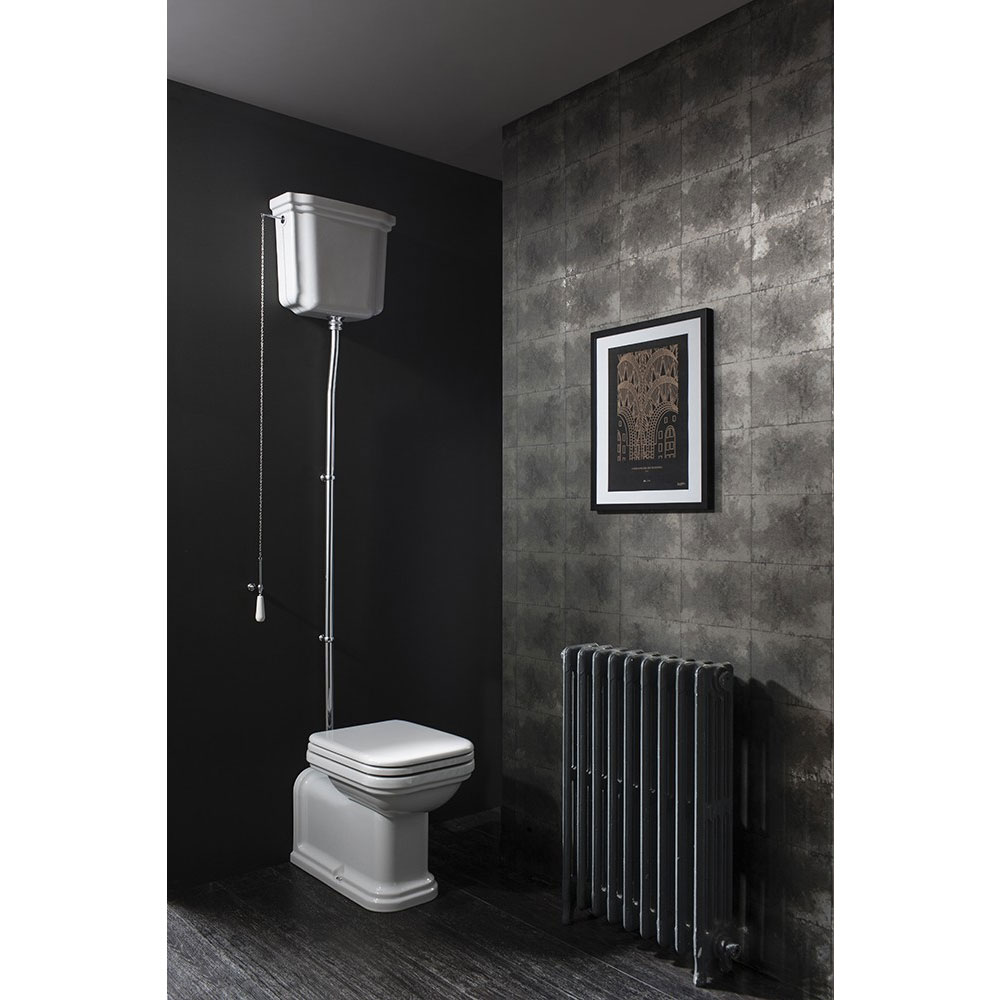 Bauhaus - Waldorf Art Deco Back to Wall High Level Toilet with Soft Close Seat Feature Large Image
