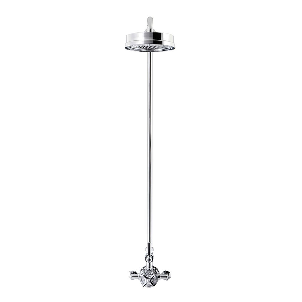 Crosswater - Waldorf Art Deco Black Lever Thermostatic Shower Valve with Fixed Head Profile Large Image