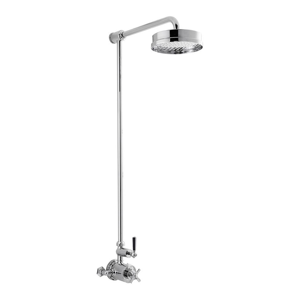 Crosswater - Waldorf Art Deco Black Lever Thermostatic Shower Valve with Fixed Head Large Image