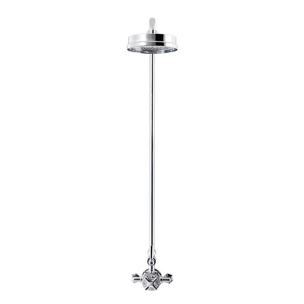 Crosswater - Waldorf Art Deco Chrome Lever Thermostatic Shower Valve with Fixed Head profile large image view 2