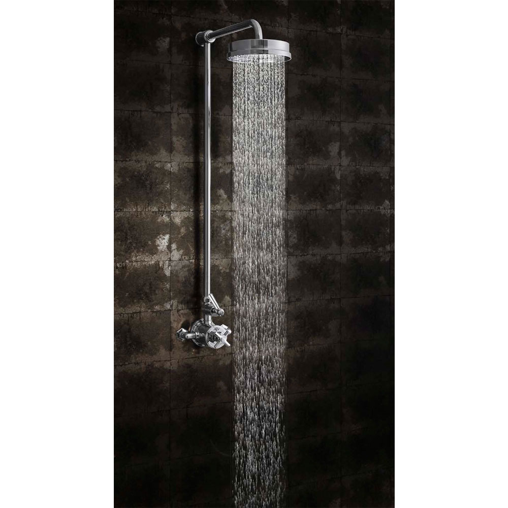 Crosswater - Waldorf Art Deco Chrome Lever Thermostatic Shower Valve with Fixed Head profile large image view 3