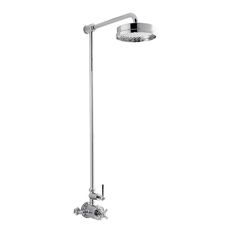 Crosswater - Waldorf Art Deco Chrome Lever Thermostatic Shower Valve with Fixed Head Large Image