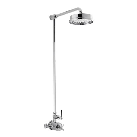 Crosswater - Waldorf Art Deco Chrome Lever Thermostatic Shower Valve with Fixed Head