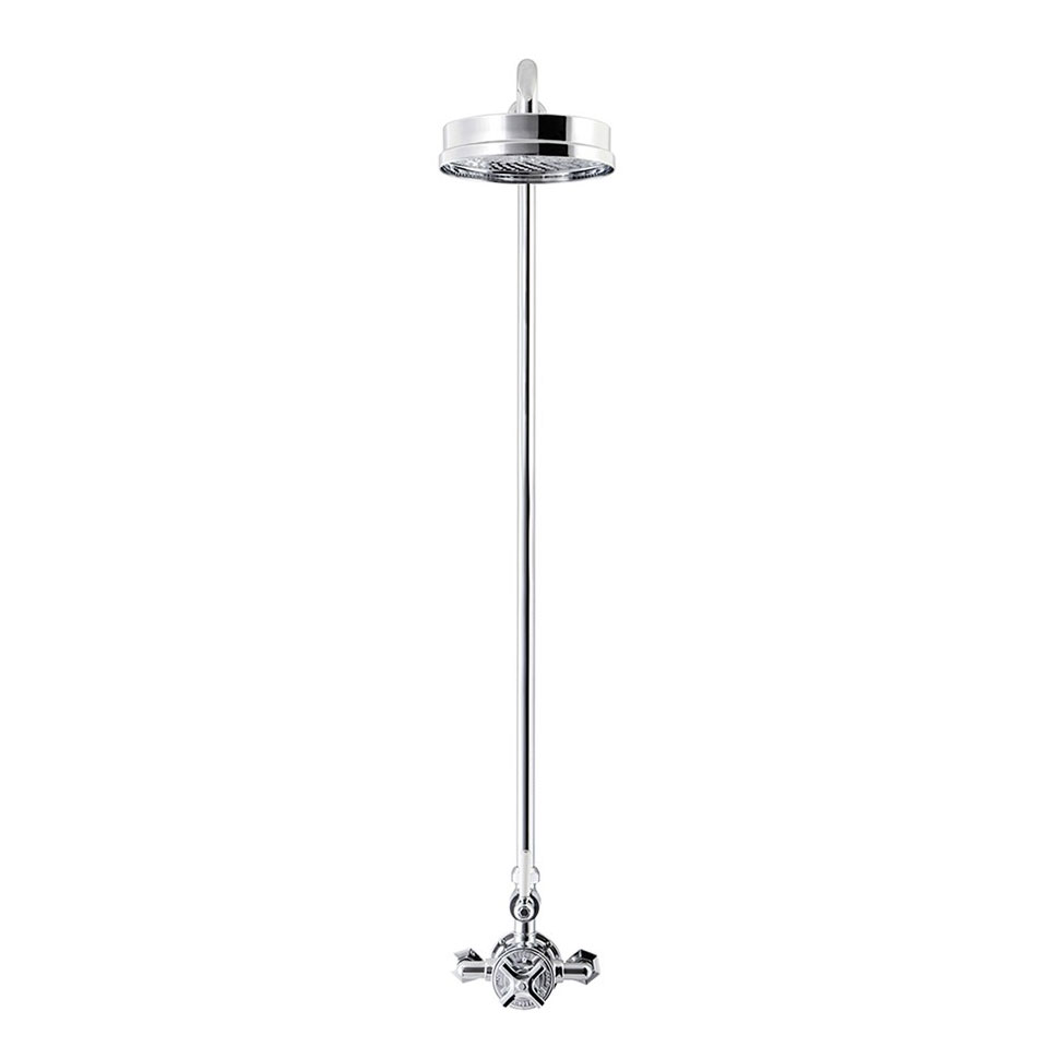 Crosswater - Waldorf Art Deco White Lever Thermostatic Shower Valve with Fixed Head Profile Large Image