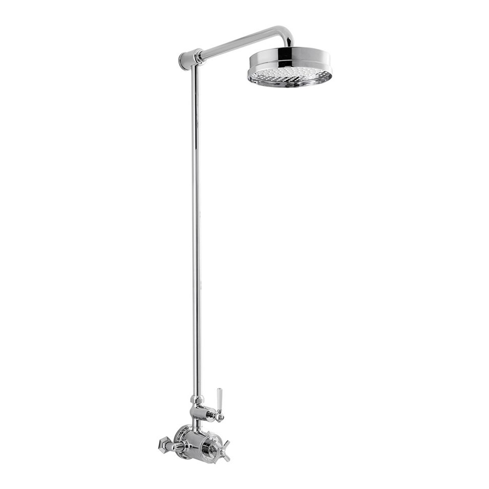 Crosswater - Waldorf Art Deco White Lever Thermostatic Shower Valve with Fixed Head Large Image