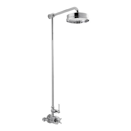 Crosswater - Waldorf Art Deco White Lever Thermostatic Shower Valve with Fixed Head