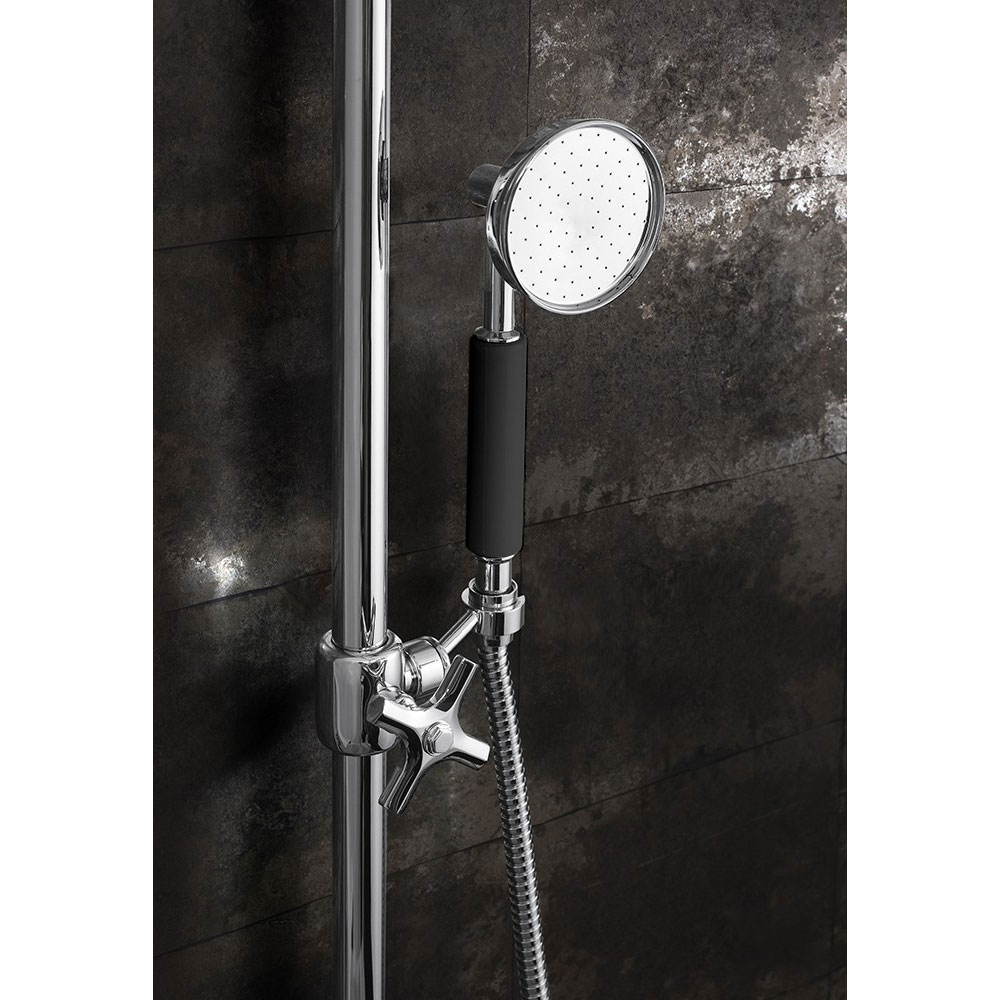 Crosswater - Waldorf Art Deco Black Lever Thermostatic Shower Valve with Fixed Head, Slider Rail & Handset Standard Large Image