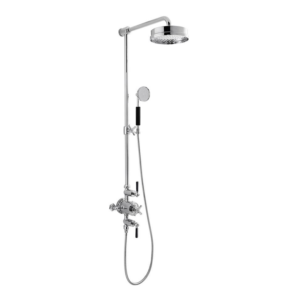 Crosswater - Waldorf Art Deco Black Lever Thermostatic Shower Valve with Fixed Head, Slider Rail & Handset Large Image