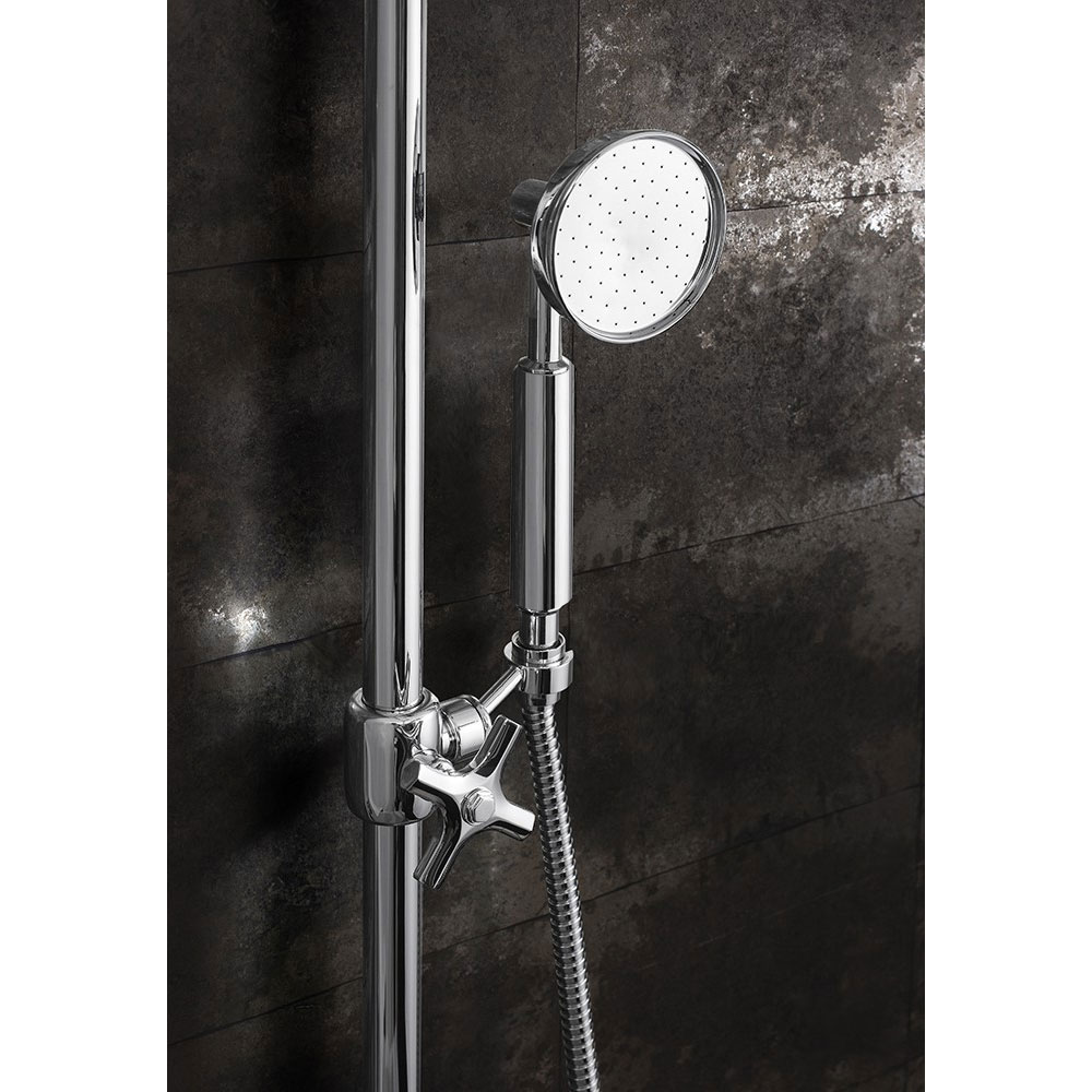 Crosswater - Waldorf Art Deco Chrome Lever Thermostatic Shower Valve with Fixed Head, Slider Rail & Handset profile large image view 3