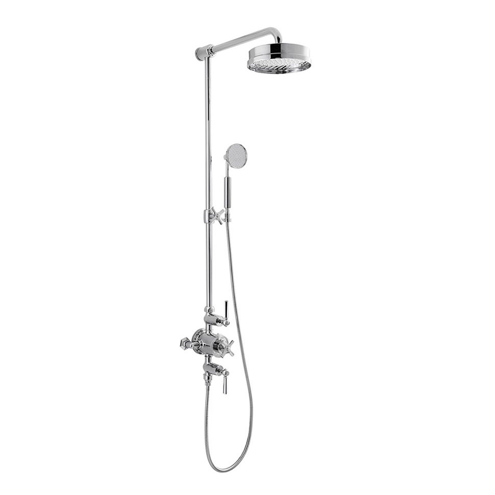 Crosswater - Waldorf Art Deco Chrome Lever Thermostatic Shower Valve with Fixed Head, Slider Rail & Handset Large Image