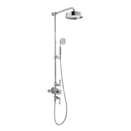Crosswater - Waldorf Art Deco Chrome Lever Thermostatic Shower Valve with Fixed Head, Slider Rail &