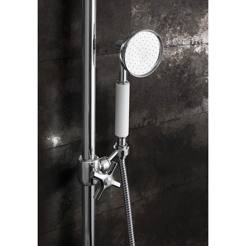 Crosswater - Waldorf Art Deco White Lever Thermostatic Shower Valve with Fixed Head, Slider Rail & Handset Standard Large Image