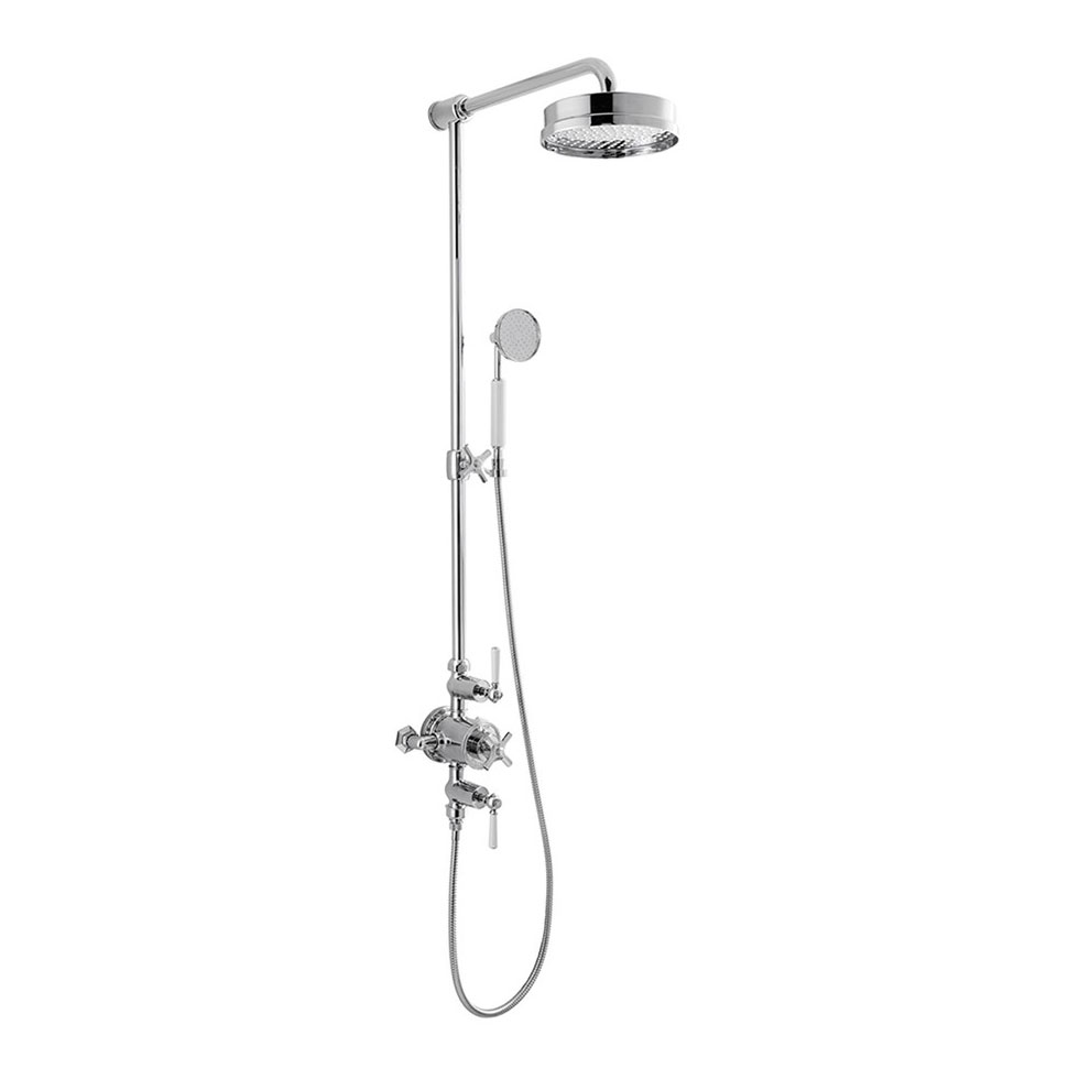 Crosswater - Waldorf Art Deco White Lever Thermostatic Shower Valve with Fixed Head, Slider Rail & Handset Large Image