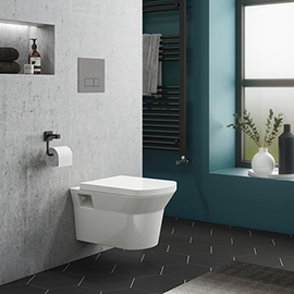 Dual Flush Concealed WC Cistern with Wall Hung Frame + Modern Toilet