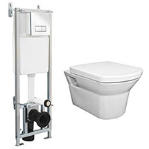 Dual Flush Concealed WC Cistern with Wall Hung Frame + Modern Toilet Medium Image
