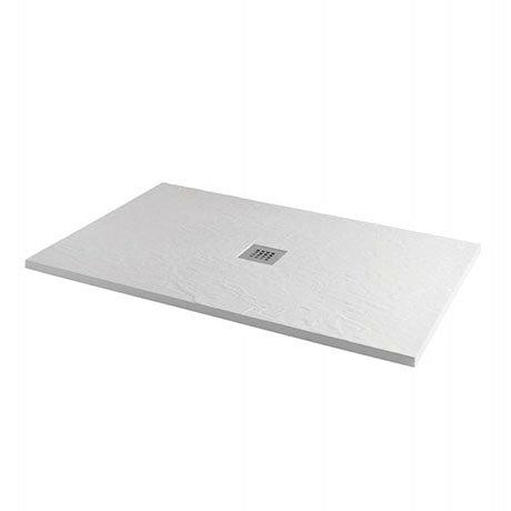 1200 x 800mm White Slate Effect Rectangular Shower Tray + Chrome Waste