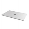 1600 x 900mm White Slate Effect Rectangular Shower Tray + Chrome Grill Waste profile small image view 1