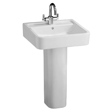 Ideal Standard White Cube 50cm 1TH Basin & Pedestal