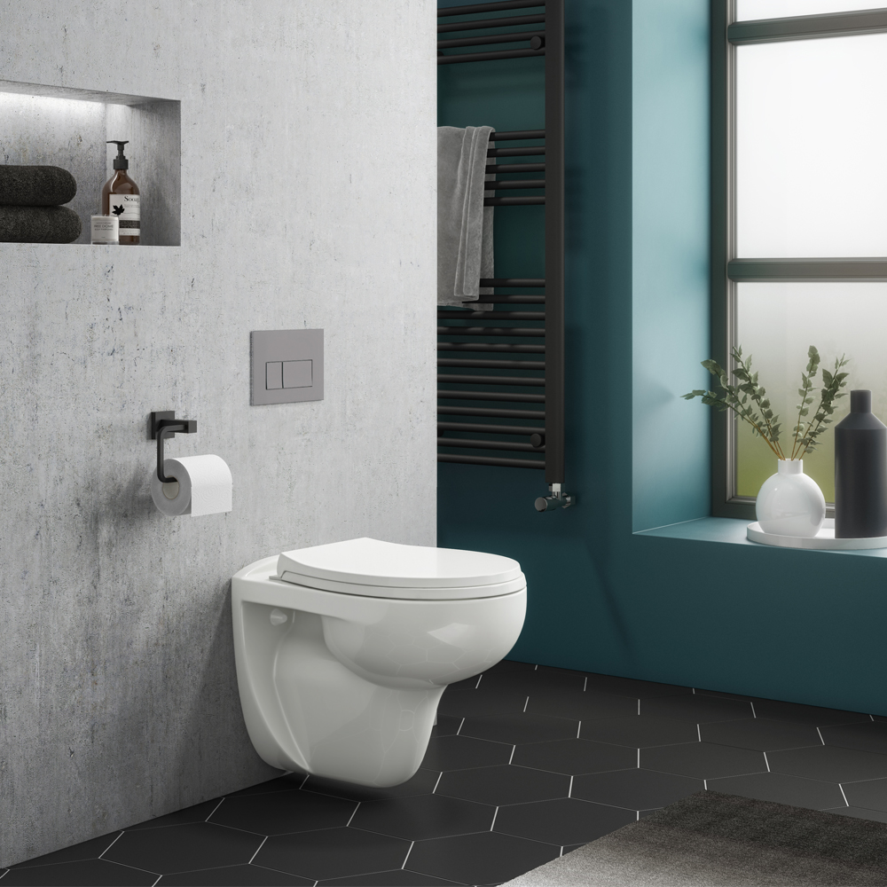 Compact Dual Flush Concealed WC Cistern with Wall Hung Frame & Standard Toilet