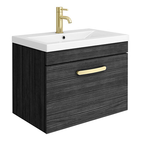 Brooklyn 600mm Black Wall Hung 1-Drawer Vanity Unit with Brushed Brass Handle