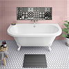Admiral 1685 Back To Wall Roll Top Bath + White Leg Set profile small image view 1