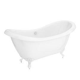 Earl 1750 Double Ended Roll Top Slipper Bath + White Leg Set
