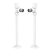 Arezzo Modern Angled Radiator Valves inc. 180mm Stand Pipes - White profile small image view 1