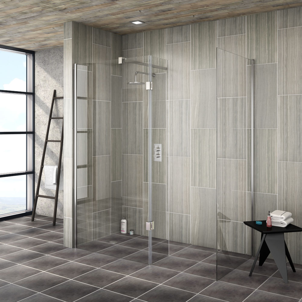 "Saturn 8mm (1400 x 900mm) Walk In Shower Enclosure - WIE149 - Image of a wet room walk in shower with stylish grey tiles"" title="