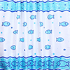 Fish Motif Polyester Shower Curtain W1800 x H1800mm profile small image view 1