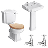 Winchester 2TH Traditional Bathroom Suite (inc. Basin Taps + Luxury Cistern Lever) profile small image view 1