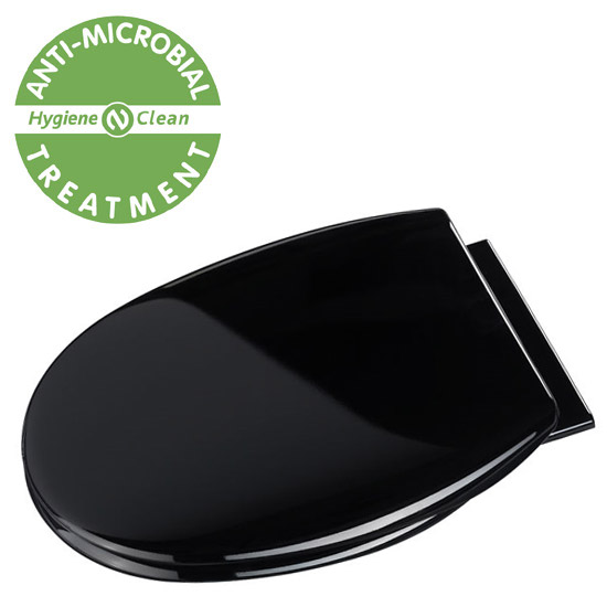 Croydex Anti-Bacterial Polypropylene Toilet Seat with Slow-Close Hinge - Black Large Image