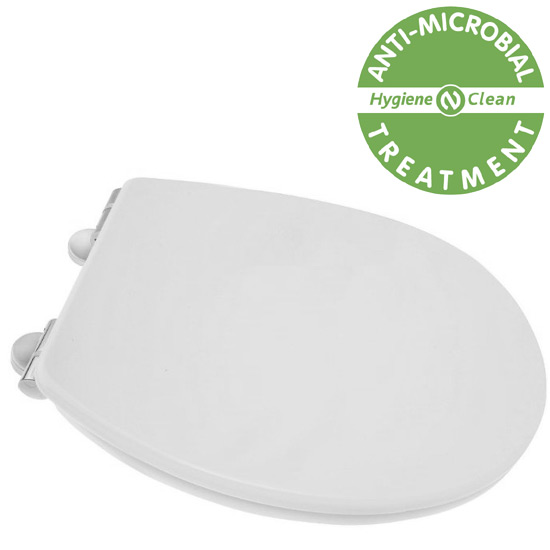 Croydex Anti-Bacterial Thermoset Toilet Seat with Slow-Close Easy-Fit Hinge - Gloss White profile large image view 1