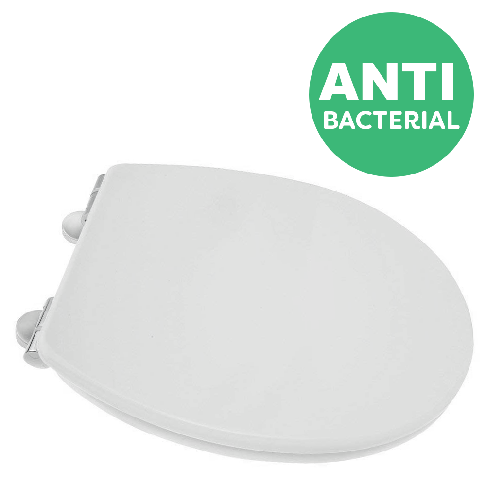 Croydex Anti-Bacterial Thermoset Toilet Seat with Slow-Close Easy-Fit Hinge - Gloss White