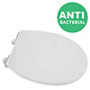 Croydex Anti-Bacterial Thermoset Toilet Seat with Slow-Close Easy-Fit Hinge - Gloss White profile small image view 1