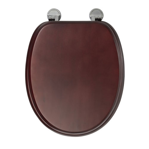 Croydex Sit Tight Douglas Mahogany Effect Toilet Seat with Chrome Hinges - WL530652H Feature Large Image
