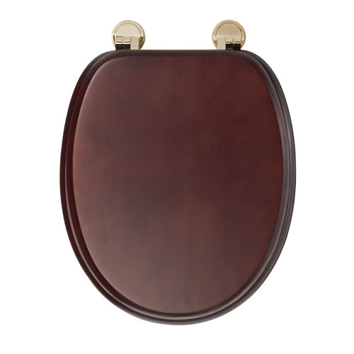 Croydex Sit Tight Douglas Mahogany Effect Toilet Seat with Brass Hinges - WL530752H profile large image view 3