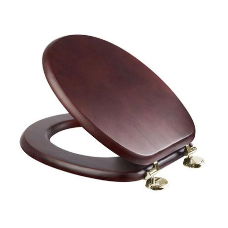 Croydex Sit Tight Douglas Mahogany Effect Toilet Seat with Brass Hinges - WL530752H