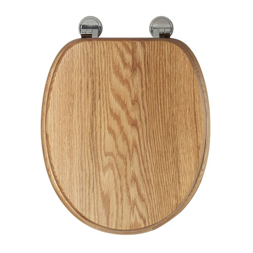 Croydex Sit Tight Bloomfield Solid Oak Toilet Seat with Chrome Hinges - WL530976H profile large image view 2