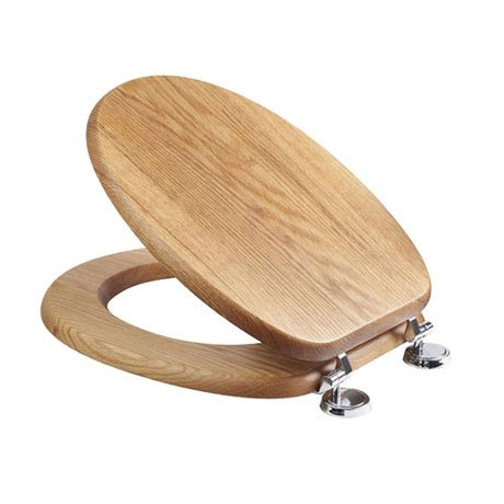 Croydex Sit Tight Bloomfield Solid Oak Toilet Seat with Chrome Hinges - WL530976H