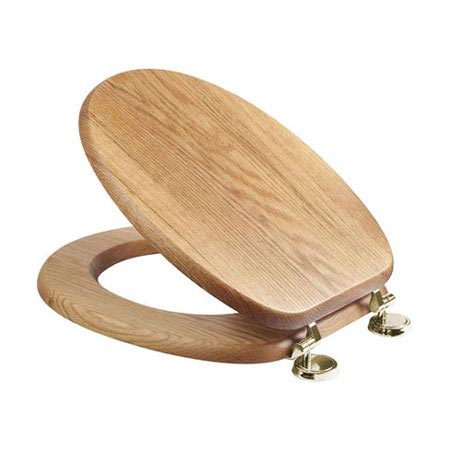 Croydex Sit Tight Bloomfield Solid Oak Toilet Seat with Brass Hinges - WL531076H