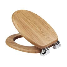 Croydex Sit Tight Bloomfield Solid Oak Soft Close Toilet Seat - WL531176H Medium Image