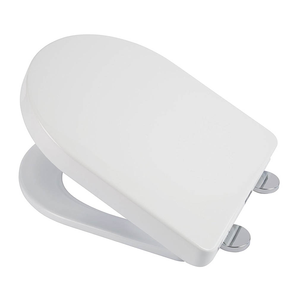 Croydex Flexi-Fix Eyre D-Shape White Anti-Bacterial Toilet Seat with Soft Close and Quick Release - WL601522H
