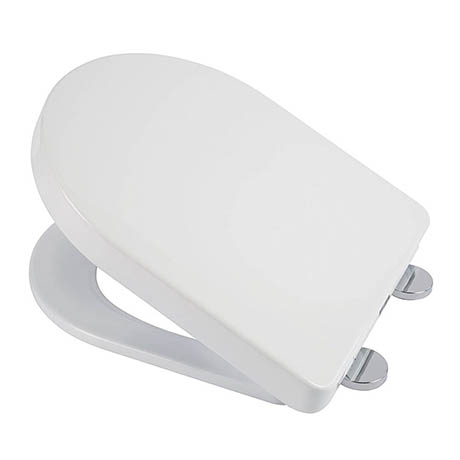 Croydex Flexi-Fix Eyre D-Shape White Anti-Bacterial Toilet Seat with Soft Close and Quick Release -