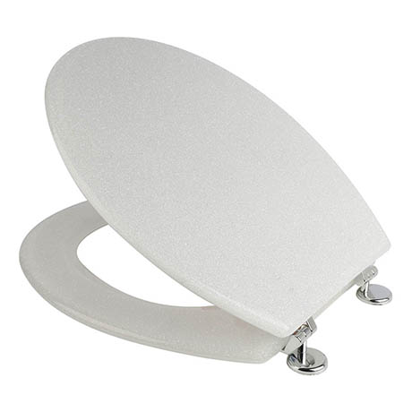 Croydex Flexi-Fix White Quartz Effect Anti-Bacterial Toilet Seat - WL601822H