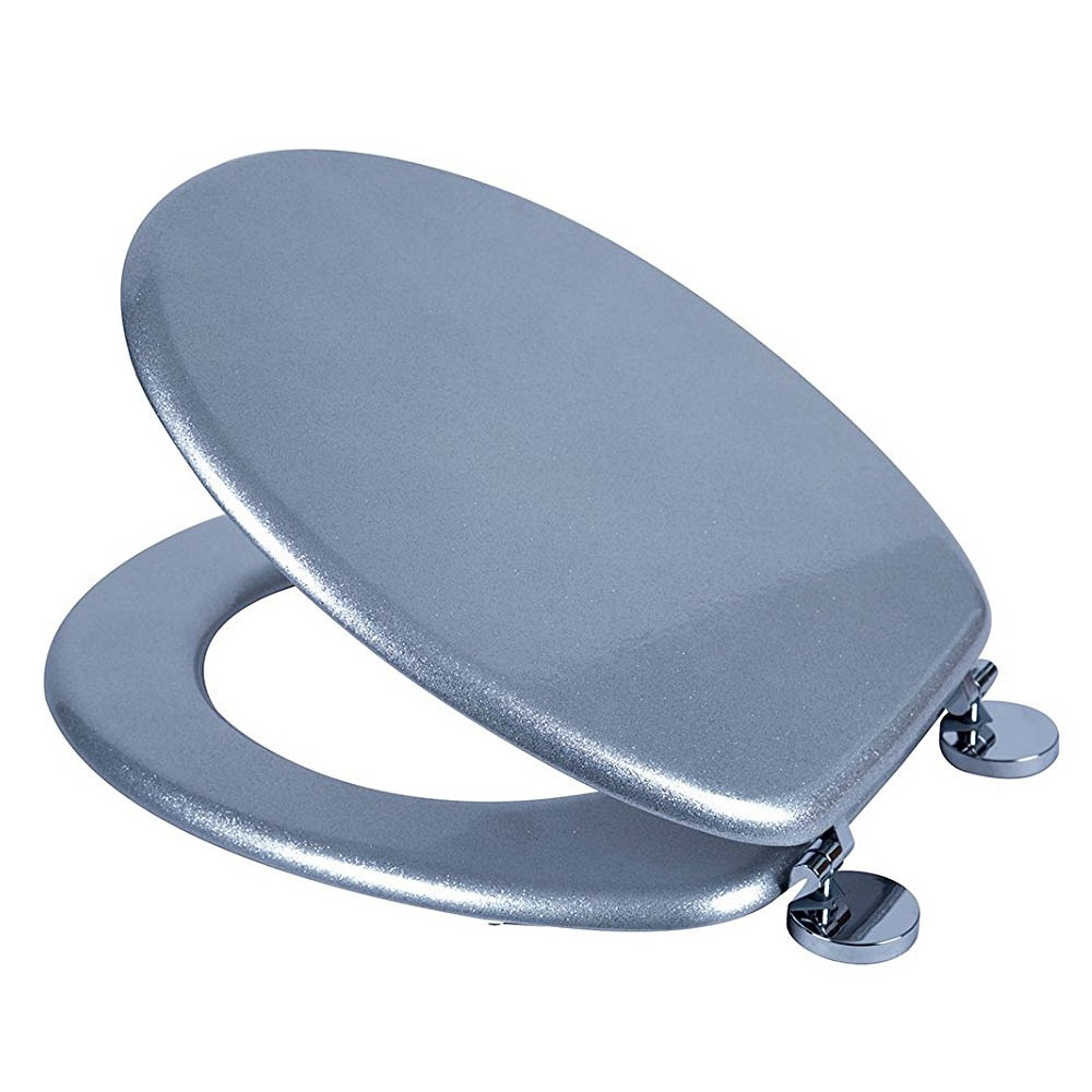 Croydex Flexi-Fix Silver Quartz Effect Anti-Bacterial Toilet Seat - WL601840H