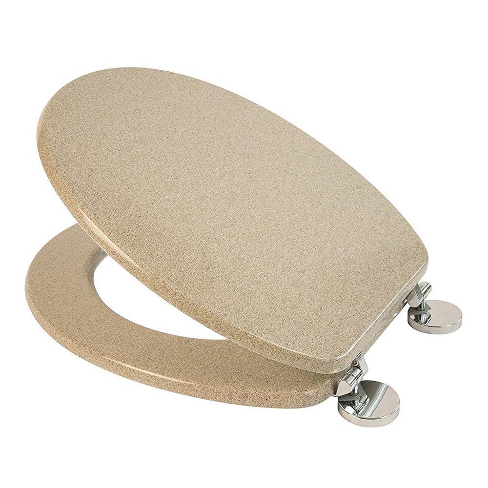 Croydex Flexi-Fix Dorney Sandstone Effect Anti-Bacterial Toilet Seat - WL601915H